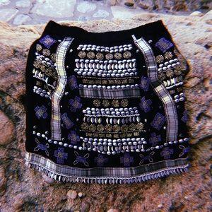 🌛Raga Beaded Mini Black Embellished Skirt